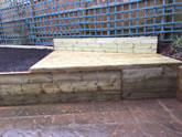 New garden landscape project including the construction of garden steps, flowerbeds and garden decking