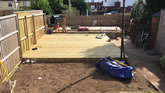 New landscaping job in Exeter new garden patio, decking area installed, and turfing